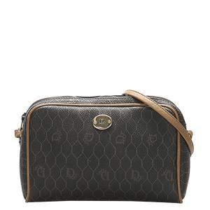 Dior Black Honeycomb Coated Canvas Leather Fabric Shoulder Bag
