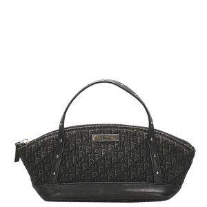 Dior Black Oblique Canvas Top Handle Bag