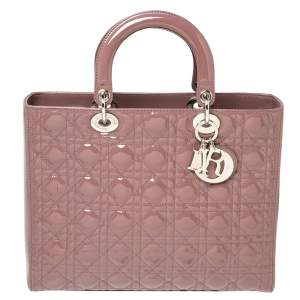 Dior Mauve Cannage Quilted Patent Leather Large Lady Dior Tote