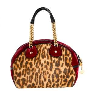 Dior Multicolor Leopard Print Calfhair, Velvet and Patent Leather Gambler Dice Bag