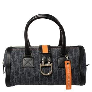 Dior Blue Diorissimo Denim and Leather Trotter Barrel Bag