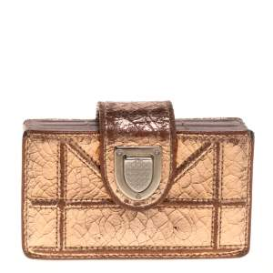 Dior Metallic Gold Crinkled Leather Diorama Gusset Card Holder