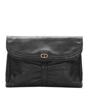 Dior Black Leather Clutch Bag