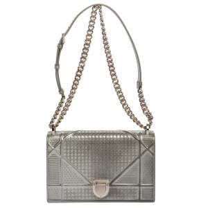 Dior Metallic Silver Microcannage Patent Leather Medium Diorama Shoulder Bag