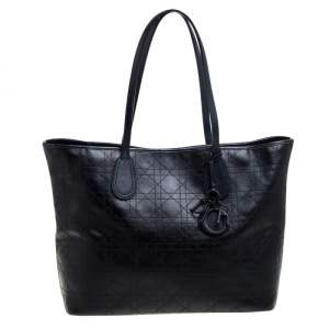 Dior Black Cannage Coated Canvas Medium New Panarea Shopper Tote