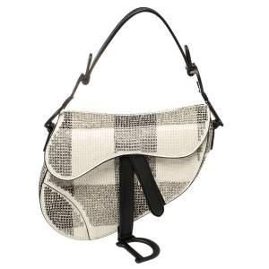 حقيبة سادال ديور صغيرة مزخرفة جلد أسود و أبيض