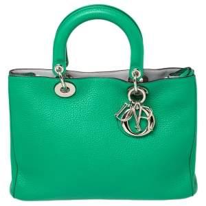 حقيبة يد ديور ديوريسيمو شوبر متوسطة جلد أخضر