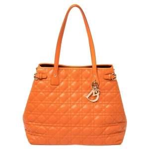 حقيبة يد ديور باناريا متوسطة جلد وكانفاس مقوى كاناج برتقالي