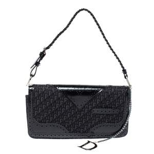 Dior Black Oblique Canvas and Perforated Leather D Trick Flap Shoulder Bag