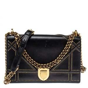Dior Black Leather Medium Diorama Studded Shoulder Bag