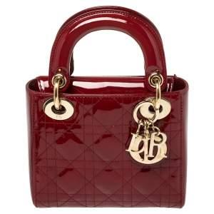 حقيبة يد ديور ليدي ديور صغيرة سلسلة جلد لامع كاناج أحمر