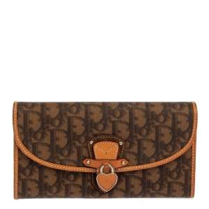 Dior Brown Oblique Coated Canvas and Leather Romantic Continental Wallet