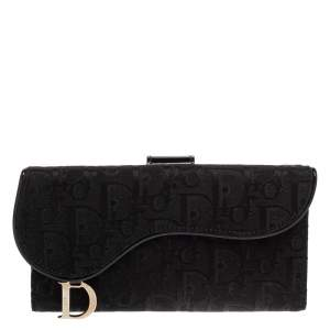 Dior Black Oblique Canvas and Patent Leather Saddle Wallet