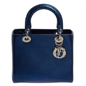 حقيبة يد ديور ليدي ديور متوسطة جلد لامع ميكروكاناج أزرق ميتاليك