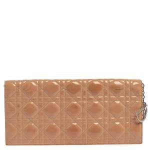 Dior Beige Quilted Cannage Patent Leather Lady Dior Chain Clutch