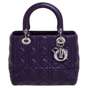 Dior Purple Cannage Leather Medium Lady Dior Tote