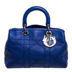 Dior Blue Cannage Leather Granville Polochon Satchel