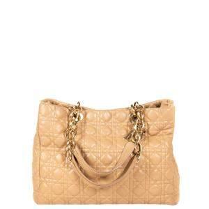 Dior Beige Leather Soft Lady Dior Shopper Tote Bag