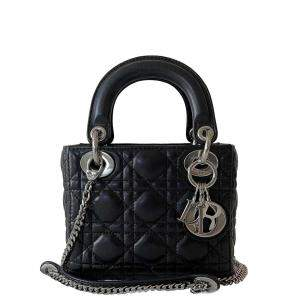 Dior Black Leather Lady Dior Mini Bag