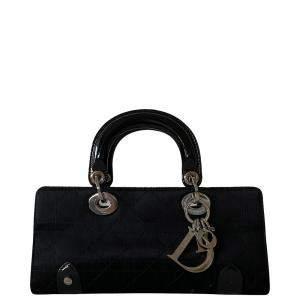Dior Black Leather E/W Lady Dior Mini Bag