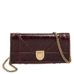 Dior Maroon Crinkled Leather Diorama Wallet On Chain