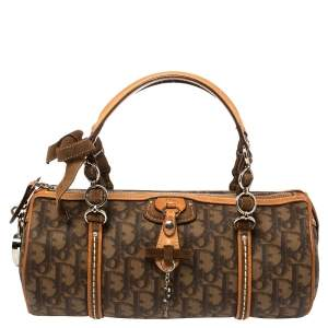 Dior Brown Oblique Coated Canvas and Leather Romantique Barrel Bag