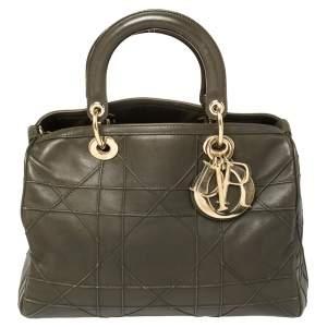 Dior Dark Olive Green Cannage Leather Granville Polochon Satchel