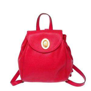 Christian Dior Red Leather Vintage Backpack