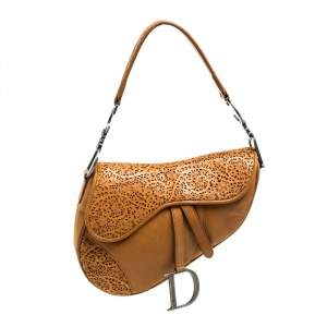 Dior Brown Leather Perforated Saddle Bag