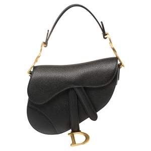 Dior Black Leather Mini Saddle Bag