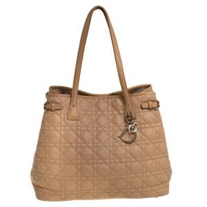 Dior Beige Cannage Coated Canvas Medium Panarea Tote
