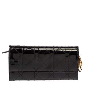 Dior Black Cannage Patent Leather Lady Dior Wallet on Chain