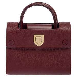 Dior Burgundy Leather Diorever Top Handle Bag