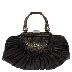 Dior Black Pleated Lambskin Leather Plisse Basket Bag