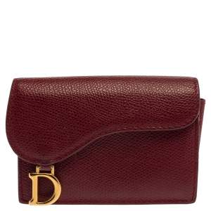 Dior Red Leather Saddle Card Holder