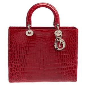 Dior Red Shine Crocodile Large Lady Dior Tote