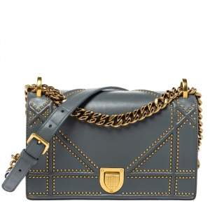 Dior Grey Studded Leather Small Diorama Shoulder Bag