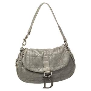 Dior Grey Cannage Leather Flap Hobo
