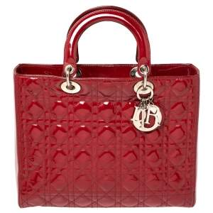 Dior Red Cannage Patent Leather Large Lady Dior Tote