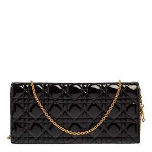 Dior Black Patent Leather Lady Dior Chain Clutch
