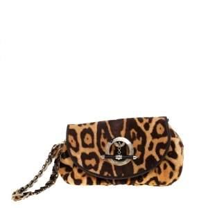 Dior Brown Leopard Calfhair Jazz Club Wristlet Clutch
