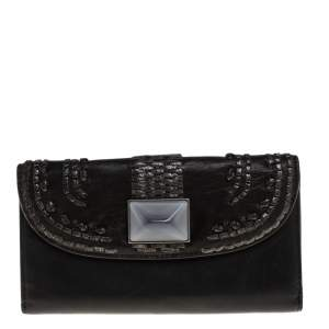 Dior Black Leather Crystal Detail Continental Wallet