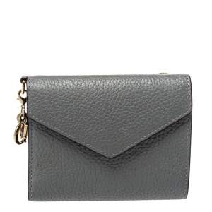 Dior Grey Leather Trifold Wallet