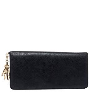 Dior Black Pebbled Leather Diorissimo Long Wallet