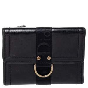 Dior Black Textured Leather Compact Wallet