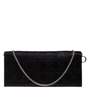 Dior Black Cannage Satin Crystal Embellished Chain Clutch