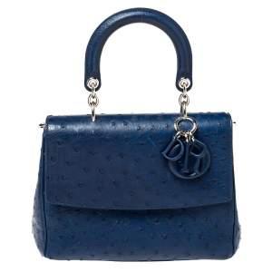 Dior Blue Ostrich Medium Be Dior Flap Top Handle Bag