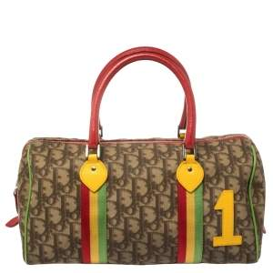 Dior Multicolor Oblique Coated Canvas and Leather Rasta Boston Bag