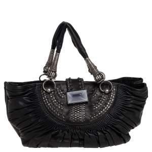 حقيبة يد ديور بليسيه جلد أسود مطوية