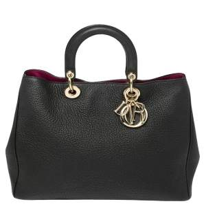 Dior Black Grained Leather Large Diorissimo Shopper Tote